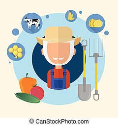 Farmer Senior Man Agriculture Icon Flat Vector Illustration