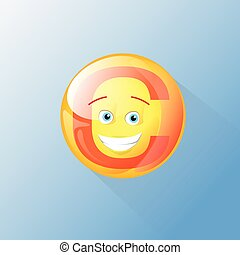 Vitamin C Nutrition Chemistry Element Colorful Icon Smile...