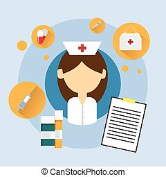 Medical Doctor Woman Nurse Icon Flat Vector Illustration