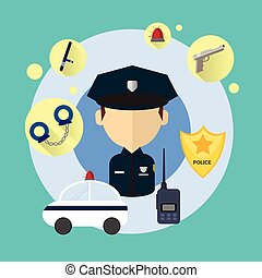 Police Officer Man Icon Flat Vector Illustration