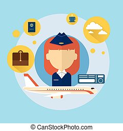 Stewardess Airport Crew Icon Flat Vector Illustration