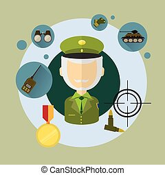 Military Man Commander Icon Flat Vector Illustration