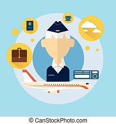 Senior Stewardess Airport Crew Icon Flat Vector Illustration