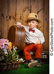 kid with suitcase - Cute little boy in elegant clothes...