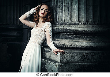 fiancee dress - Beautiful fashion model in luxurious white...
