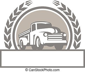 Vintage Pick Up Truck Circle Retro - Illustration of a...