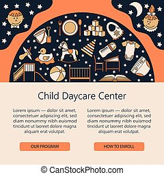 Child and baby care center web or card template. - Child and...