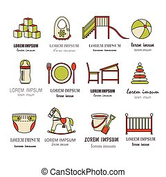 Child and baby care center color thin line icons....