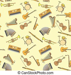 Music instrument. Vector - Seamless pattern with different...