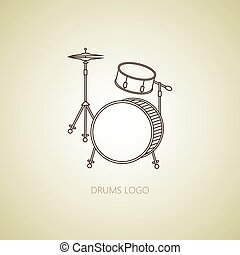 Music instrument. vector - Drums logo. Thin line vector icon...