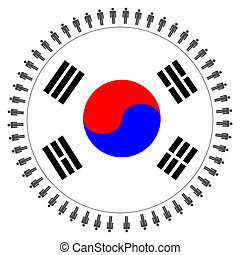 Korean flag with people - Round Korean flag with circle of...