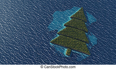 Christmas tree-shaped tropical island - Aerial view of...