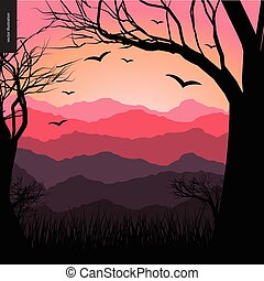 Layered landscape illustarted poster. Vector cartoon...