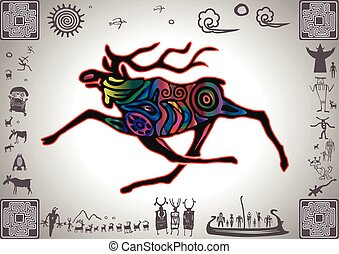 Kokopelli Glow Elk by petroglyph styled old sticker
