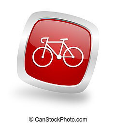 bicycle square red glossy chrome silver metallic web icon -...