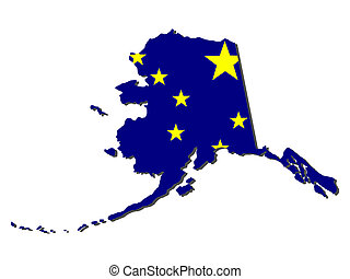 Map of Alaska with flag - Map of Alaska and state flag...