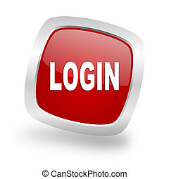 login square red glossy chrome silver metallic web icon -...