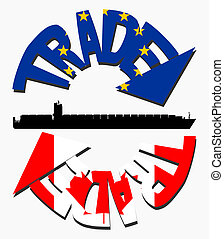 EU and Canadian trade with flags and container ship