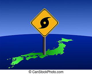 Typhoon sign on Japan map - Typhoon warning sign on Japan...