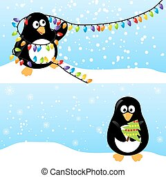 Winter horizontal banner - Set of winter horizontal banners...