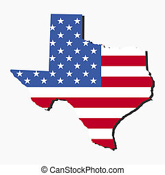 Texas map flag - Map of the State of Texas and American flag...