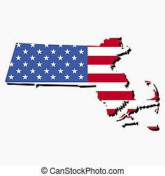 Massachusetts map flag - Map of the State of Massachusetts...