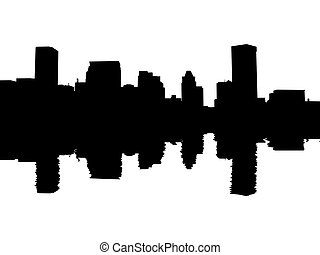 Baltimore skyline reflected with ripples illustration