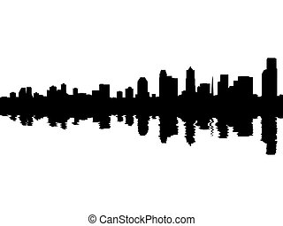 Seattle skyline reflected with ripples illustration