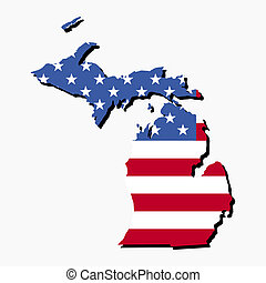 Michigan map flag - Map of the State of Michigan and...