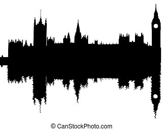 Houses of Parliament London reflected with ripples...