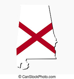 Alabama map flag - Map and flag of the State of Alabama