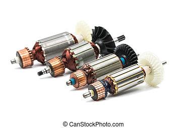 eléctrico, motor, rotor, aislado