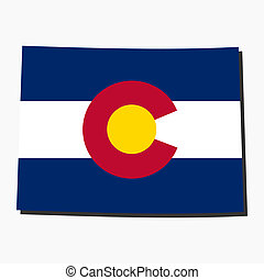 Colorado map flag - Map and flag of the State of Colorado