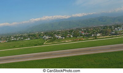 View from the airplane taking off - Panorama of the...