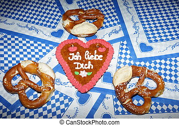 Original bavarian pretzels with beer . Oktoberfest...