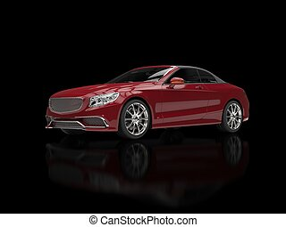 Cherry red modern business car - on black reflective background