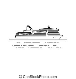 Ferry boat vector illustration in linear stile. Travel line...
