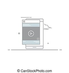 Video design concept player or tutorial in the mobile device interface, designed in a linear style. Vector illustration of a dark stroke isolated on white background.