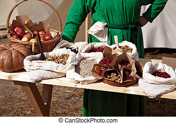 Product market in ancient times - Reconstruction of ancient...