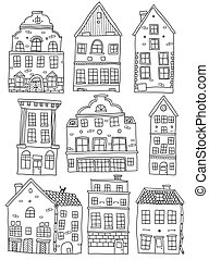 Hand Drawn Houses Monochrome Set