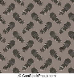 Clean Shoe Imprints Seamless Pattern Isolated on Grey...