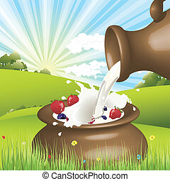 Milk - Illustration, milk to pour on background of the...