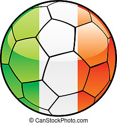 Ireland flag on soccer ball - vector illustration of Ireland...