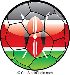 Kenya flag on soccer ball - vector illustration of Kenya...