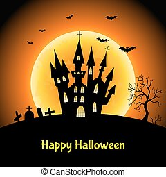 Happy Halloween  background  with   castle  and moon .