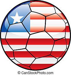 Liberia flag on soccer ball