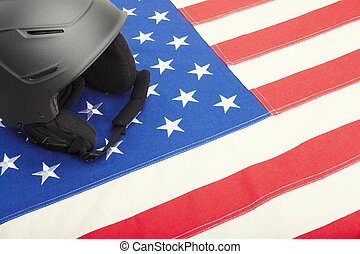 Helmet over US flag as symbol of active life style - Black...