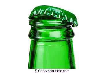 Bottleneck of green beer bottle over white background -...