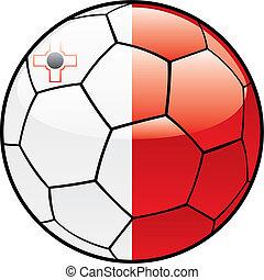 Malta flag on soccer ball