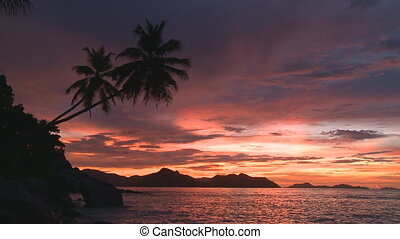 sunset with wonderful coloration on tropical island